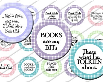Book Club Read Reading Bottle Cap Images 1 inch circle image sheet Digital Collage INSTANT DOWNLOAD Clipart