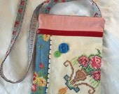 Vintage fabric Cross Body Gadget Bag, Mini Sling Purse, Small Shoulder Bag, red, blue, yellow
