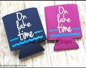 8 Custom Lake Time Can Coolers - 7/16