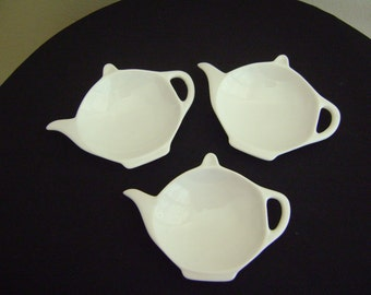 White Glass Tea Bag Holders