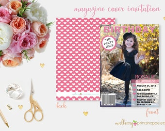Magazine Cover Birthday Girl Invitation
