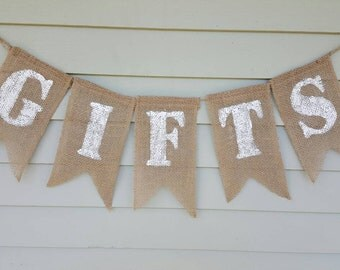 """Burlap """"gifts"""" banner. Made by a stay at home veteran."""