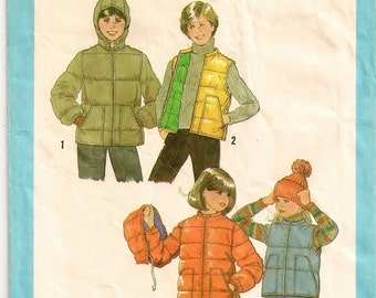 "A Front Zip Vest or Long Sleeve Jacket with Pockets, Stand-Up Collar, and Detachable Hood Pattern: Boy's Size 10 Chest 28"" • Simplicity 8809"