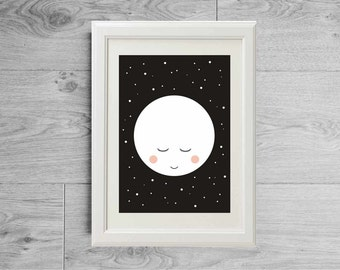 Moon poster, Sleeping moon and stars art print, Black and white moon print, Children or baby nursery furniture, Kids room decor