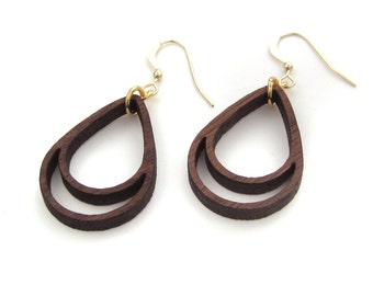 Drop Earrings, Simple Wooden Earrings, Everyday Earrings, Spring Earrings, Beach Earrings, Modern Earrings, Wood Earrings, Gifts Under 50