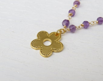 Gold amethyst necklace, Gold flower pendant, February birthstone necklace