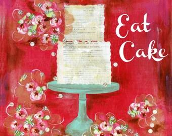Cake art, Kitchen art, Gift art, Red kitchen, Red wall art, kitchen decor
