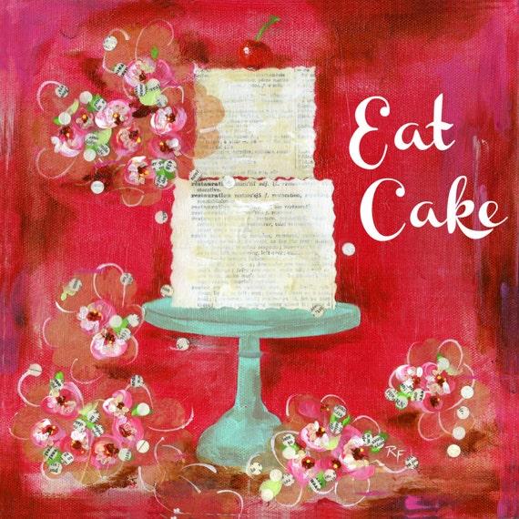 Cake Art Printer : EAT CAKE art print Cake art Kitchen art Gift art Red