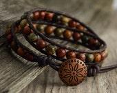 Earthy leather wrap bracelet. Rustic beaded bracelet