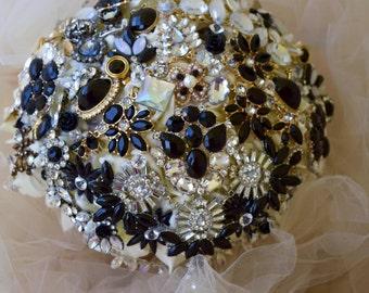 Custom Black Brooch Bouquet FULL PRICE & Ready to ship!