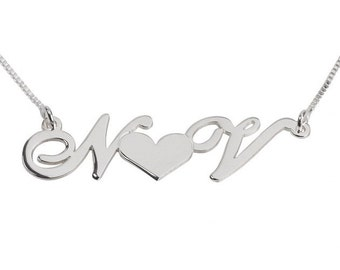 Silver Sterling  Initials with heart Necklace