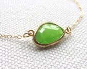 Apple Green Glass Bracelet Faceted Stone 14k Gold Filled Chain Dainty Jewelry Minimal Bridal Wedding Jewelry