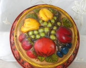 End of Summer Sale Hand Painted Tin Fruit Jello Mold, Wall Plaque, Home Decor, Retro Kitchen