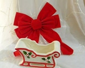 50% OFF SALE Vintage 1970s Holiday Christmas Ceramic Florists Planter Sleigh, Green Holly and Red Berries