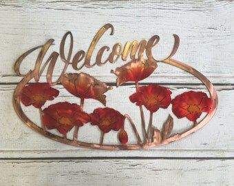 Welcome Poppy Sign