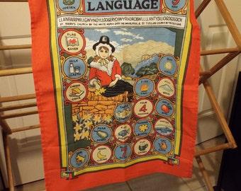 Vintage Tea Towel Welsh Language Linen Collectible