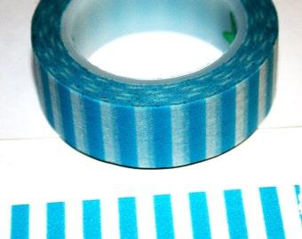 Turquoise with White Stripes Washi Tape