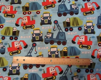 Blue Builder/Mover Trucks/Dozers/Construction Cotton Fabric by the Yard
