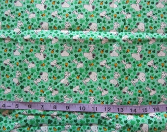 Green Snoopy/Woodstock Shamrocks St Patrick's Day Cotton Fabric by the Half Yard