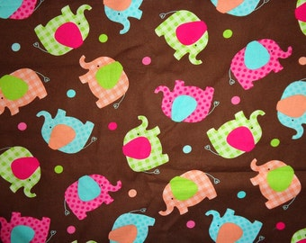 Brown with Pink/Green/Blue/Orange Elephants Cotton Fabric by the Yard