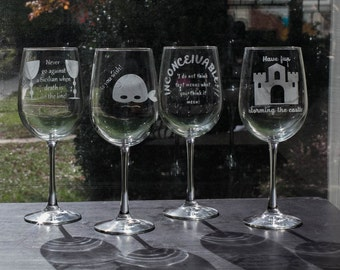 The Princess Bride Quotes Etched Wine Glasses and Stemless Wine Glasses (sets of 4)