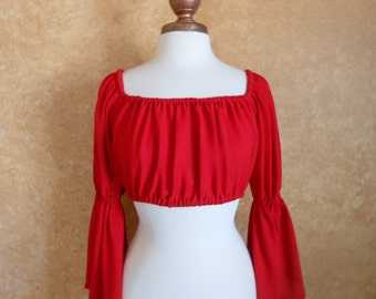 Red Gauze Cropped Pirate Renaisssance Chemise Shirt Other Colors Available