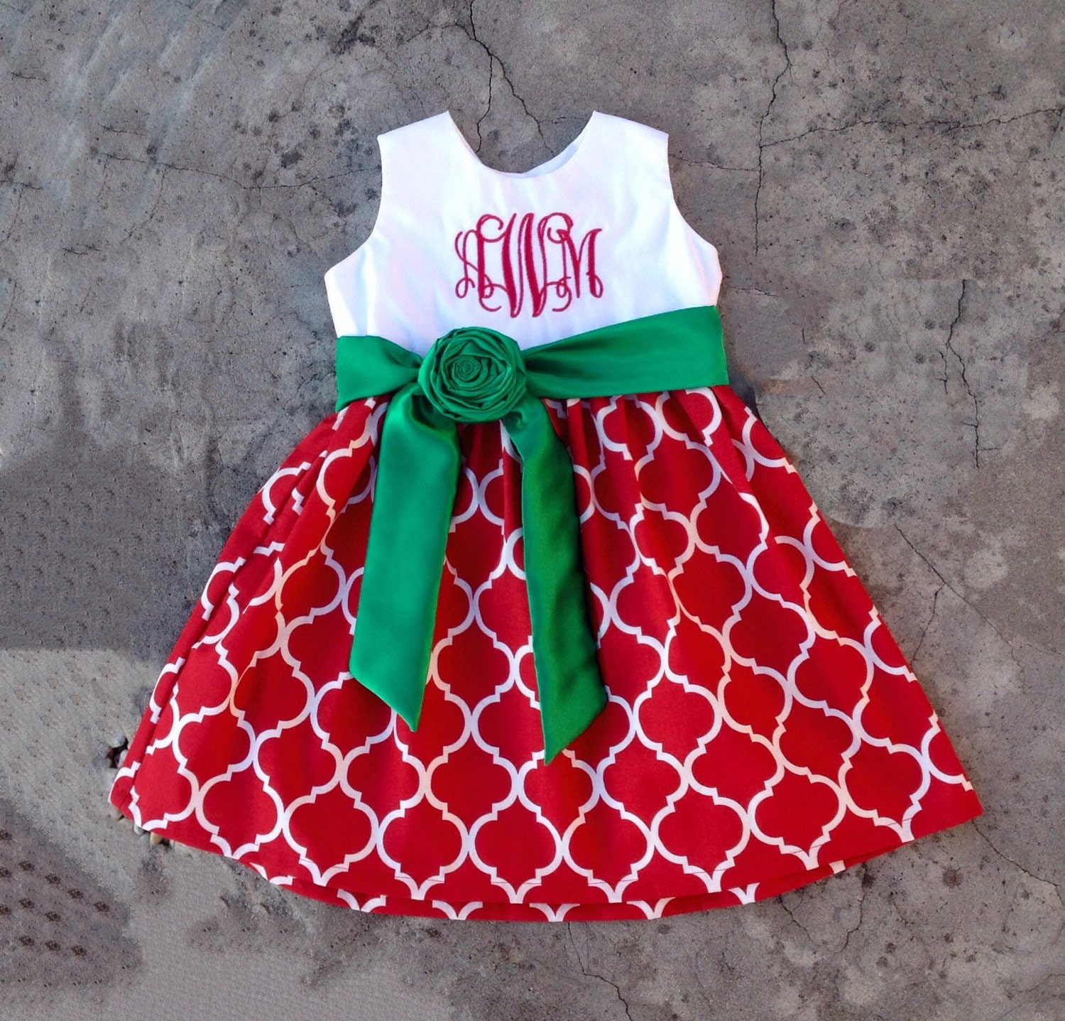 Christmas dress girls - Girls Christmas Dress Baby Girl Christmas Outfits Red And Green Quatrefoil Dress Monogrammed