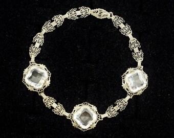 Art Deco Sterling Silver Bracelet Dazzling Crystal Glass Stones Delicate Fine Feminine ~ Lot 571