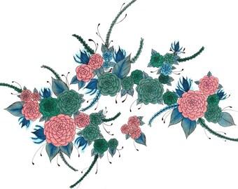 "ORIGINAL Floral Art Drawing 8""x10"""