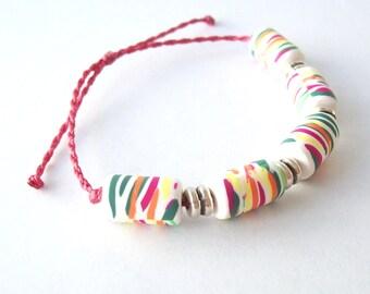 Surfer Bracelet - Friendship Bracelet - Pura Vida - Waterproof - Slide Closure - Handmade Polymer Clay Beads