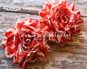 Set of 2  ** Candy Cane ** Red Chevron print Shabby Flowers Chiffon Rosette Flowers- Vintage style 2.5""