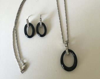 Gorgeous Vintage Onyx & Cubic Zirconia Sterling Silver Necklace and Earring Set