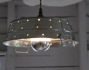 Galvanized Steel Pierced Pendant Light Fixture, Silver Bulb