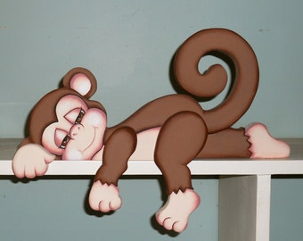 "Sleepy baby monkey ""Polly"" shelf sitter hand made wood craft"