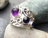 Imperfect amethyst, iolite & sapphire ring, wide sterling silver band, rustic renaissance style, hand crafted metalwork, fits size 5 and 3/4