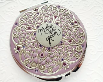 Mother of the Groom Compact Mirror Extra Large Custom Color, Groom to mother, Bridal gift, Wedding Party Gifts real Swarovski Crystals