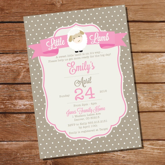 little lamb baby shower invitation pink lamb baby shower instant