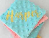 Personalized Modern Lovey/Security Blanket...Double Minky...You choose the size and colors...Shower Chic