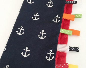 Quick Ship!...Lovey Ribbon Sensory Blanket...Navy Anchors with Minky...Can Be Personalized...No Loops