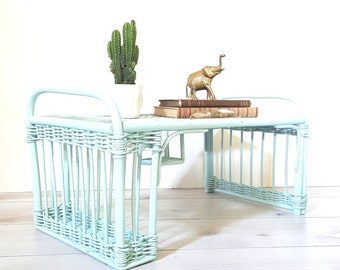 Rattan Tray~ Bed Tray/ Breakfast Tray / Serving Tray/ TV Tray ~ In Robin's Egg Blue/ Turquoise