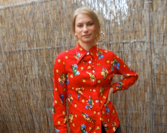 70s Vintage 100% Polyester Floral Button up Blouse Bright Red /// Small/ Medium