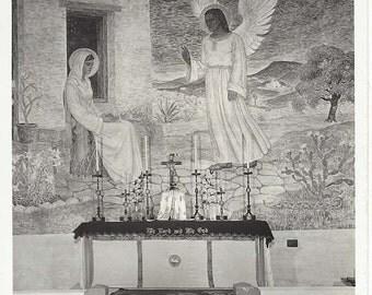 Vintage Real Photo Postcard RPPC of Fresco of the Annunciation Presidio of La Bahia - Goliad, Texas