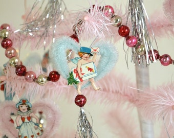 Valentine Ornaments / Vintage Style Chenille Ornaments / Set Of 4 Ornaments