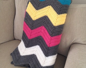Chevron Grey with Pops of Bright Color Afghan
