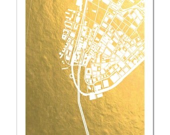 Chicago Gold Foil Map Chicago Print Gold Foil By