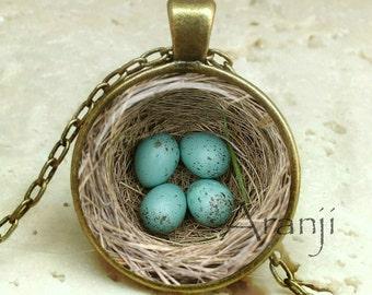 Bird's nest pendant, nest necklace, bird nest necklace, nest pendant, Mom necklace, nest with eggs pendant, eggs pendant, Pendant #AN233BR