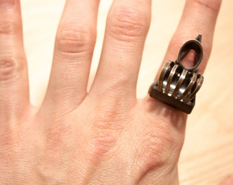 Industrial Modernist Abstract Statement Ring Size 7 -8 Adjustable