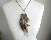 Tribal necklace, Necklace with hair , Ear of boar , boar hair,  OOAK, mixed media
