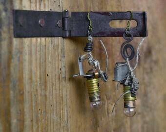 earrings with vintage bulbs tesla, steampunk earrings, upcycled earrings, light bulb earrings,  Asymmetric  Earrings