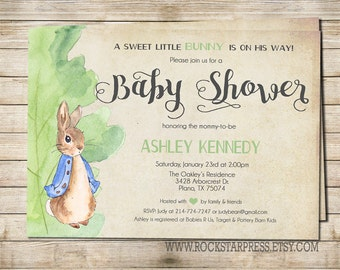 Peter Rabbit Baby Shower Invitation, Digital File,  PRINTABLE _1249